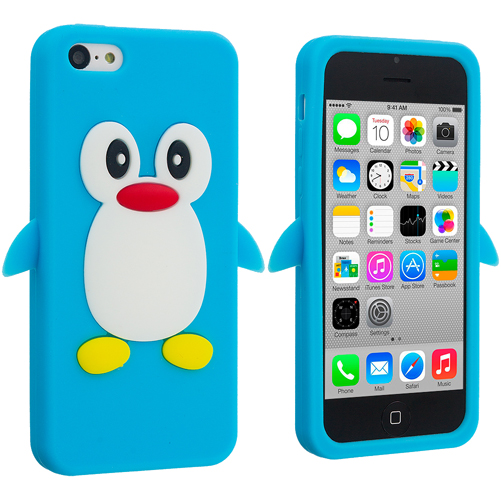 Apple iPhone 5C Baby Blue Penguin Silicone Design Soft Skin Case Cover