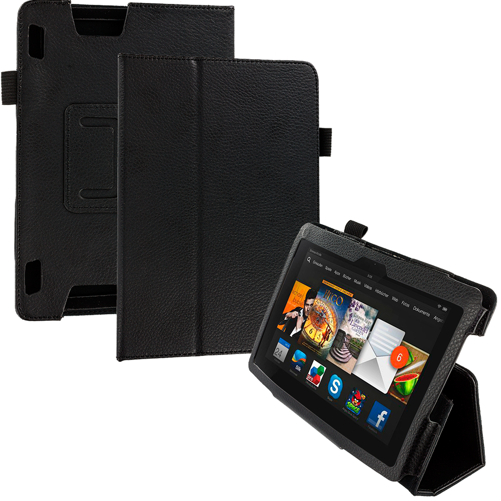 Amazon Kindle Fire HDX 7 Black Folio Pouch Case Cover Stand
