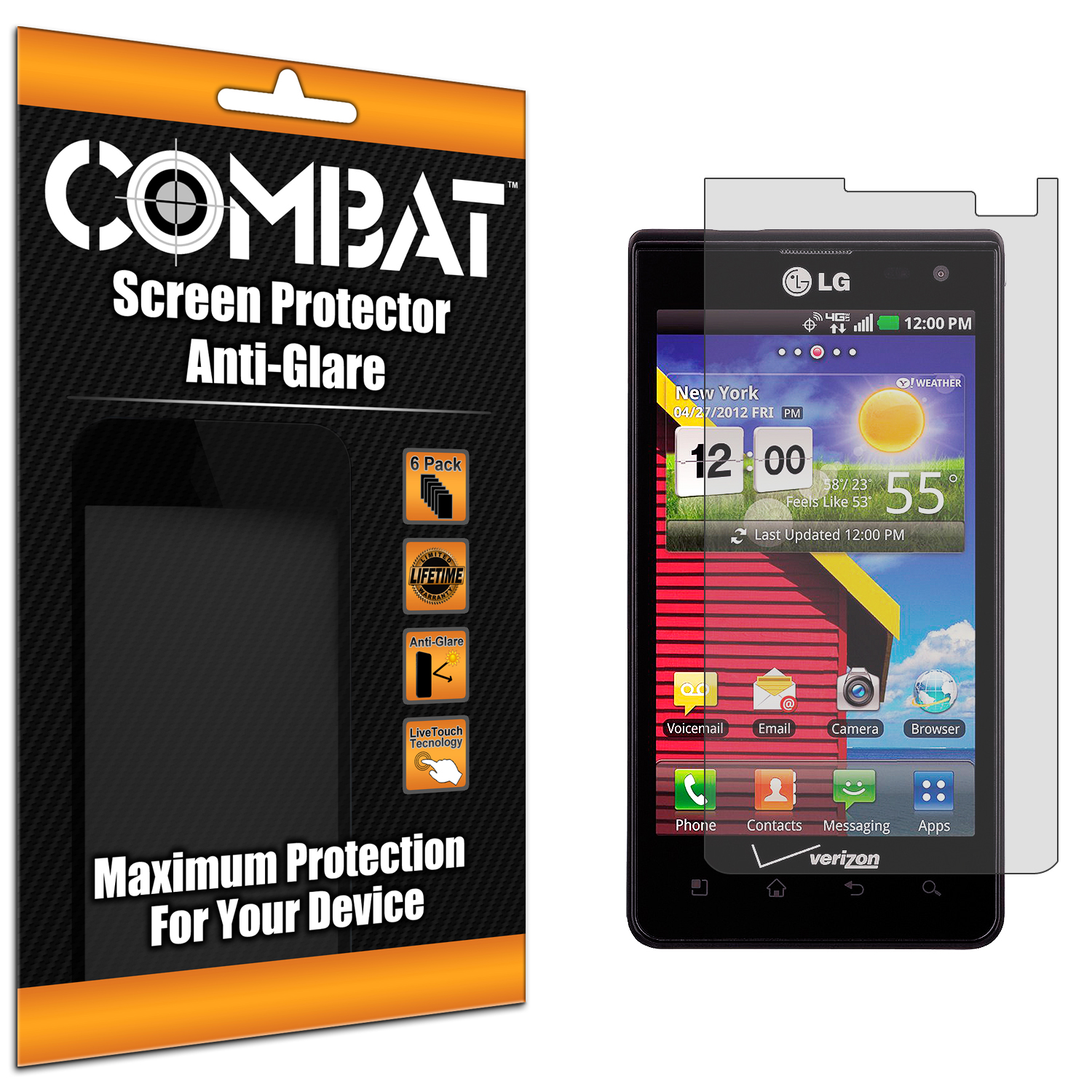 LG Lucid VS840 Combat 6 Pack Anti-Glare Matte Screen Protector