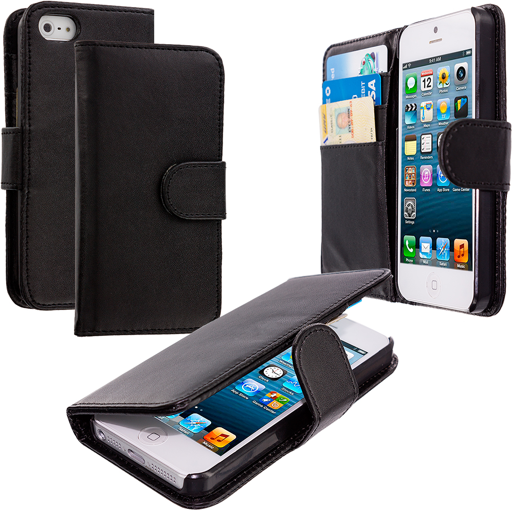Apple iPhone 5/5S/SE Black Smooth Leather Wallet Pouch Case Cover with Slots