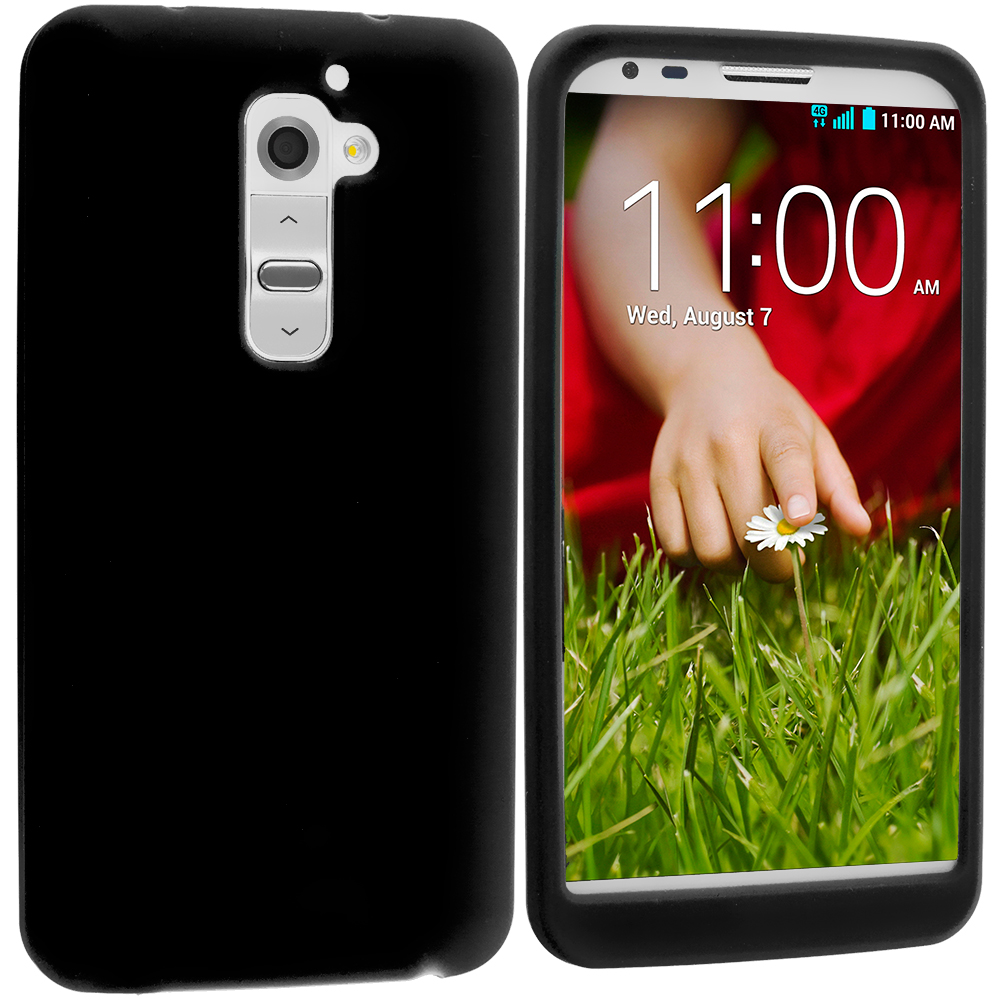 LG G2 Verizon Black Silicone Soft Skin Case Cover