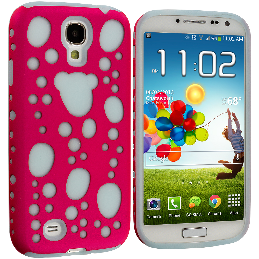 Samsung Galaxy S4 Pink / Blue Hybrid Bubble Hard/Soft Skin Case Cover