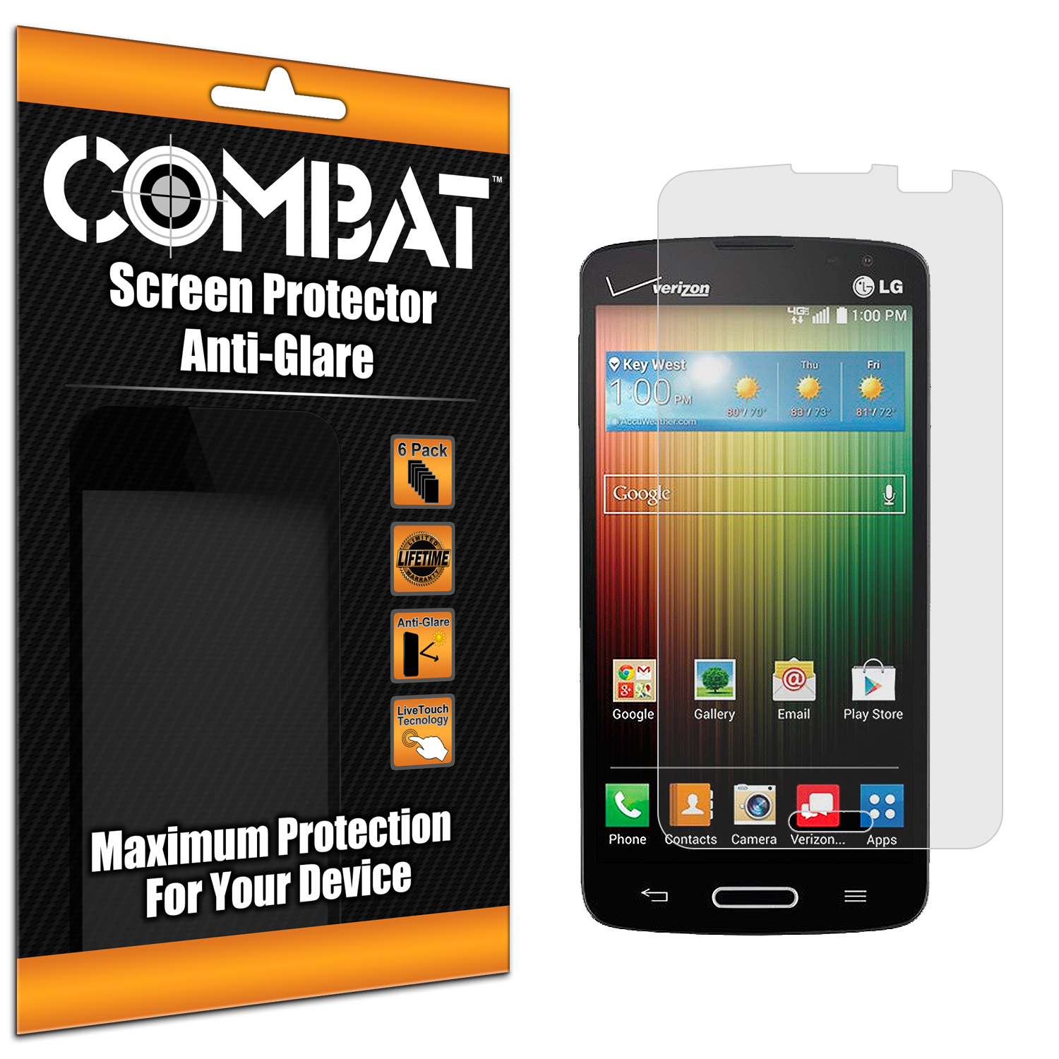 LG Lucid 3 Combat 6 Pack Anti-Glare Matte Screen Protector