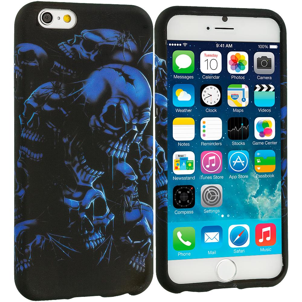 Apple iPhone 6 6S (4.7) Black Blue Skull TPU Design Soft Case Cover