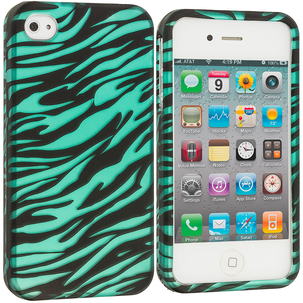 Apple iPhone 4 / 4S 2 in 1 Combo Bundle Pack - Pink/Baby Blue Zebra2D Hard Rubberized Design Case Cover : Color Black/Baby Blue Zebra2D