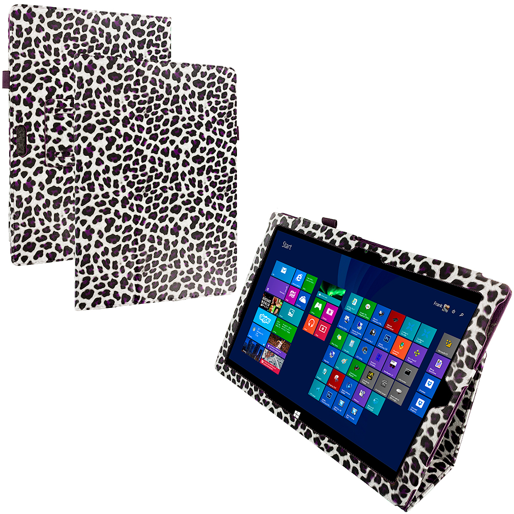 Microsoft Surface Pro 3 Design Leopard Purple Folio Pouch Flip Case Cover Stand