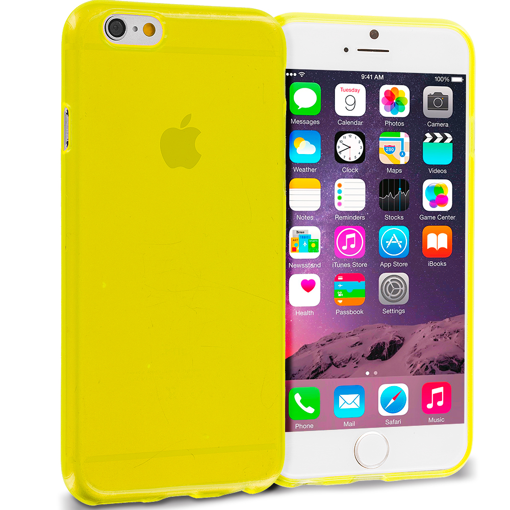 Apple iPhone 6 Plus 6S Plus (5.5) 10 in 1 Combo Bundle Pack - Transparent TPU Rubber Skin Case Cover : Color Yellow Transparent