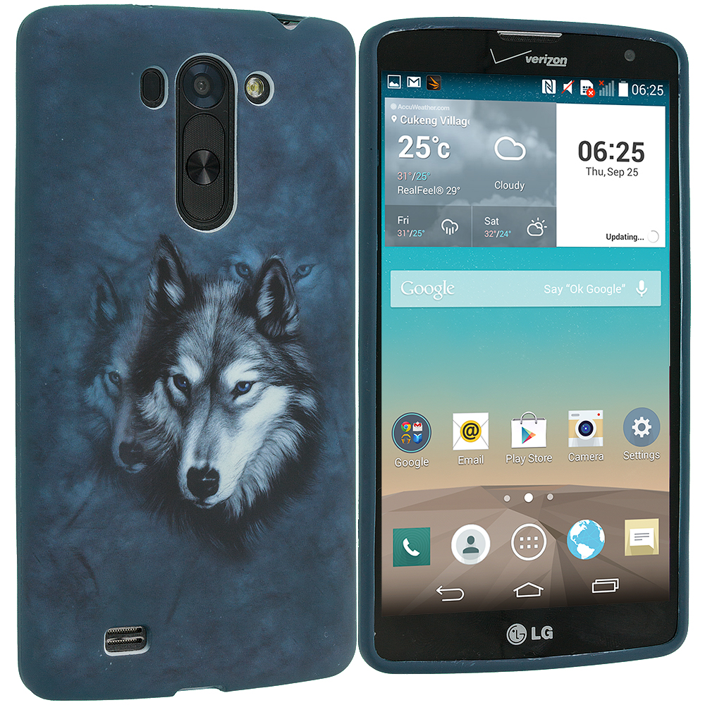 LG G Vista Wolf TPU Design Soft Rubber Case Cover