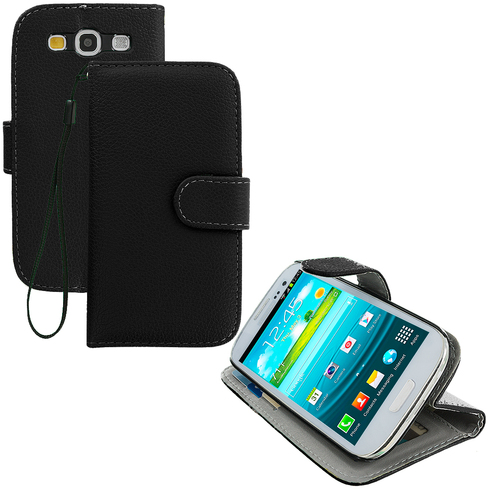 Samsung Galaxy S3 Black Leather Wallet Pouch Case Cover with Slots