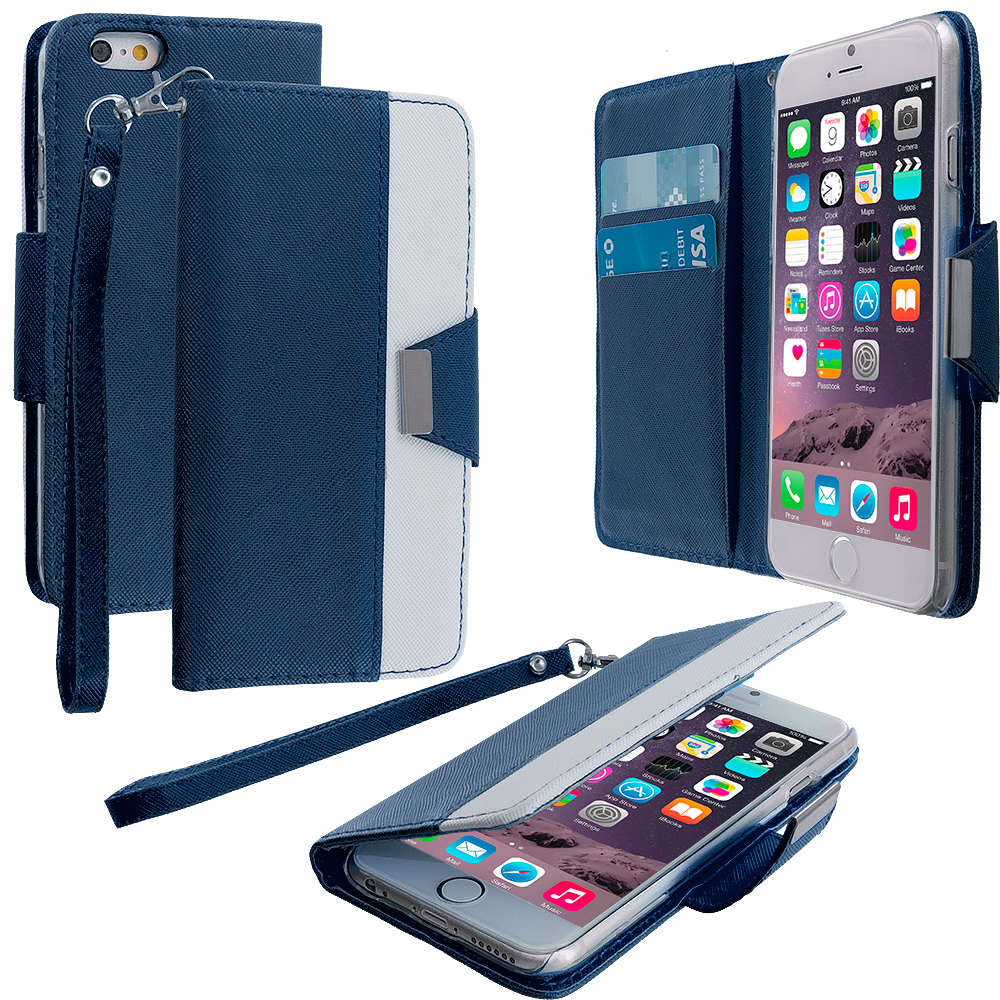 Apple iPhone 6 6S (4.7) 7 in 1 Combo Bundle Pack - Wallet Magnetic Metal Flap Case Cover With Card Slots : Color Blue