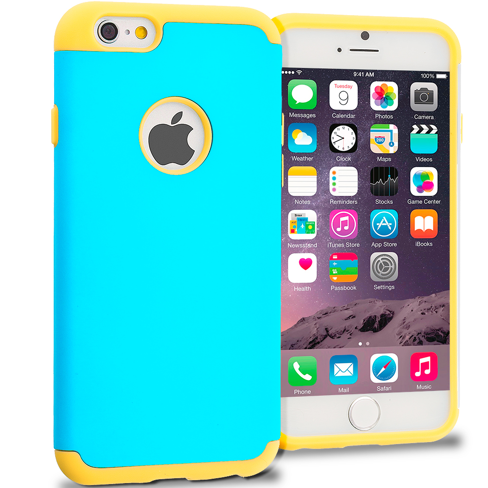 Apple iPhone 6 6S (4.7) 5 in 1 Combo Bundle Pack - Hybrid Slim Hard Soft Rubber Impact Protector Case Cover : Color Yellow / Baby Blue