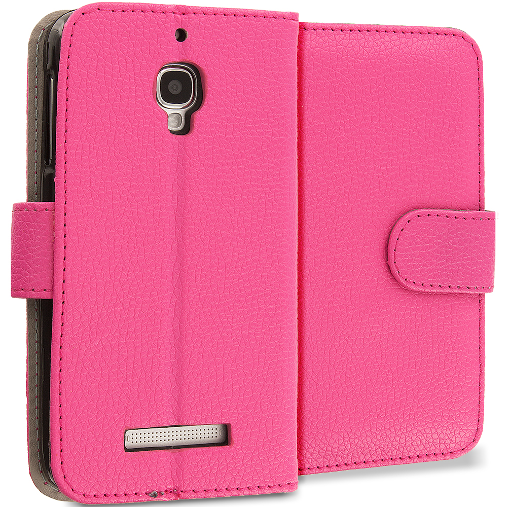 Alcatel One Touch Fierce 7024W Hot Pink Leather Wallet Pouch Case Cover with Slots