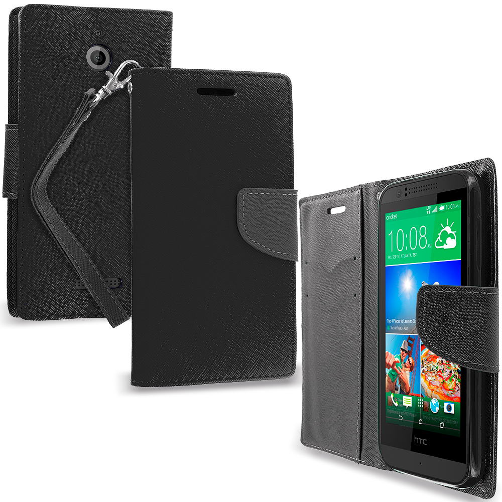 HTC Desire 510 Black / Black Leather Flip Wallet Pouch TPU Case Cover with ID Card Slots