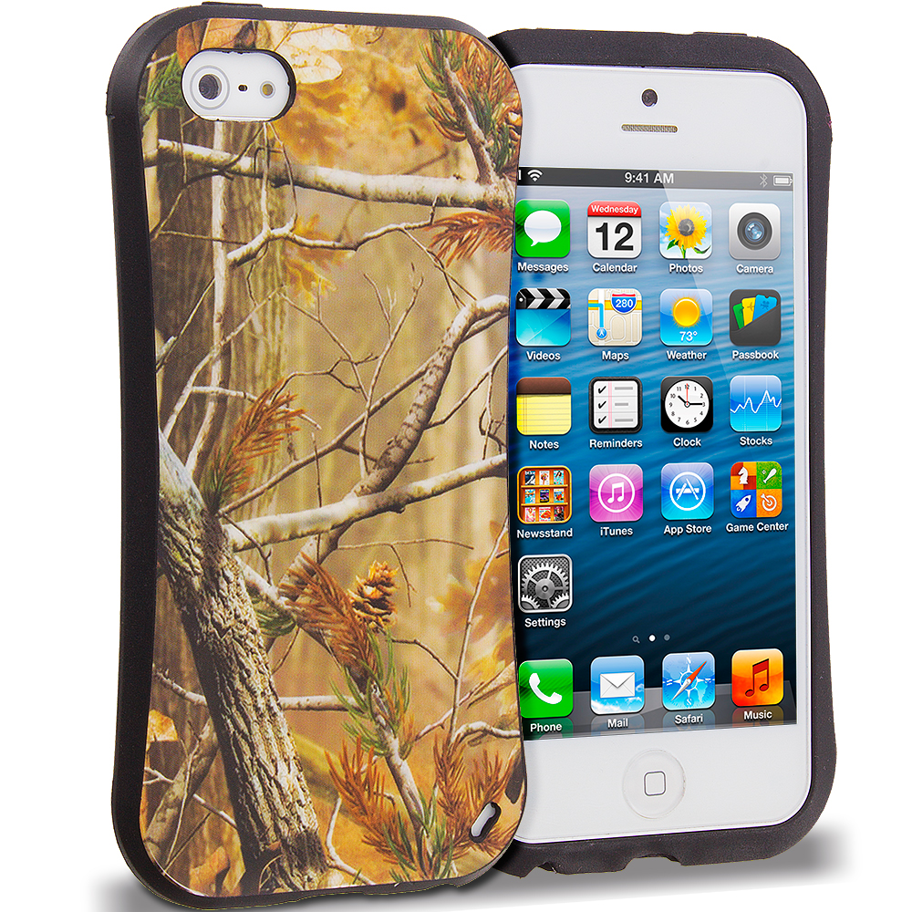 Apple iPhone 5/5S/SE Combo Pack : Gray Tree Hybrid TPU Hard Soft Shockproof Drop Proof Case Cover : Color Gray Tree