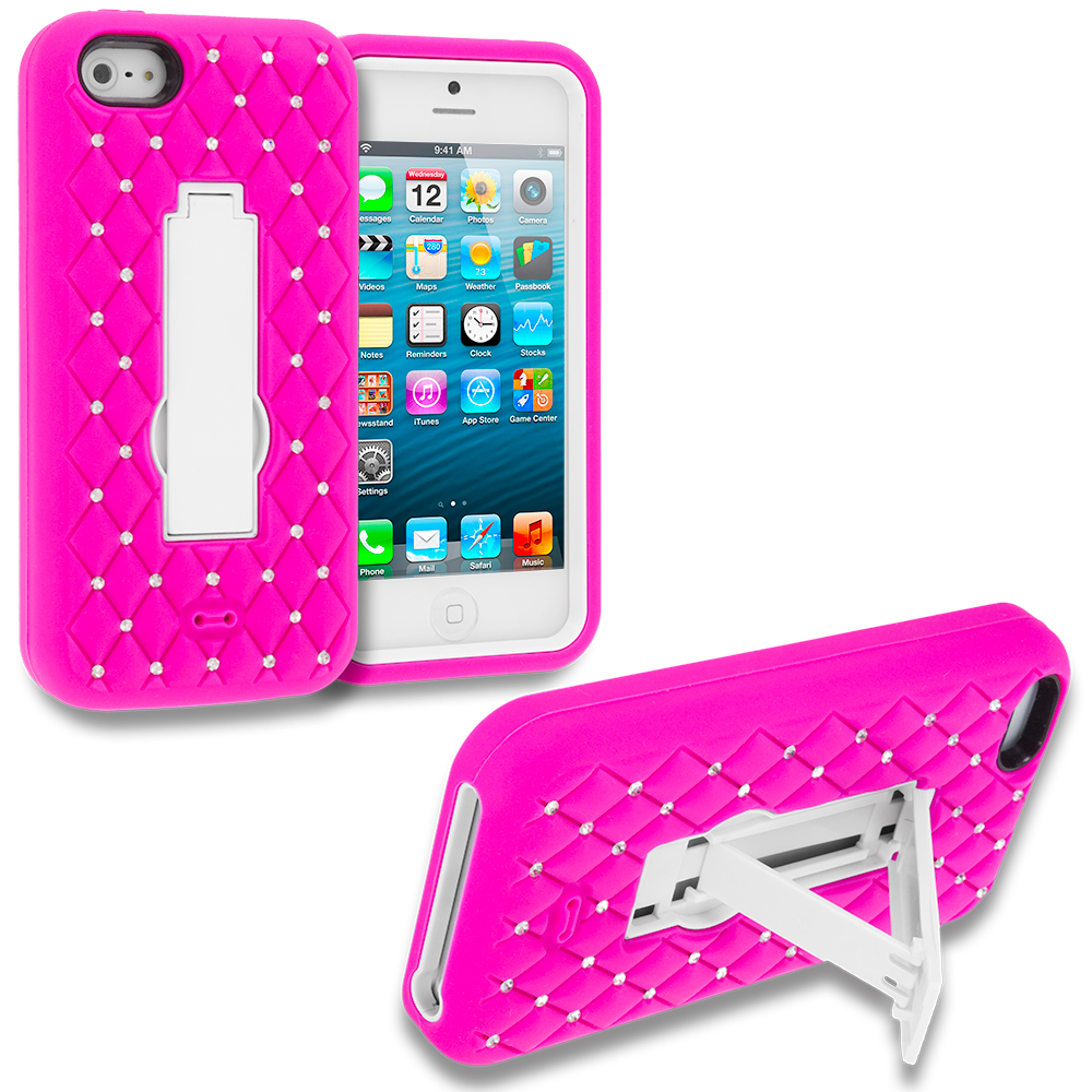 Apple iPhone 5/5S/SE Combo Pack : Hot Pink / White Hybrid Diamond Bling Hard Soft Case Cover with Kickstand : Color Hot Pink / White