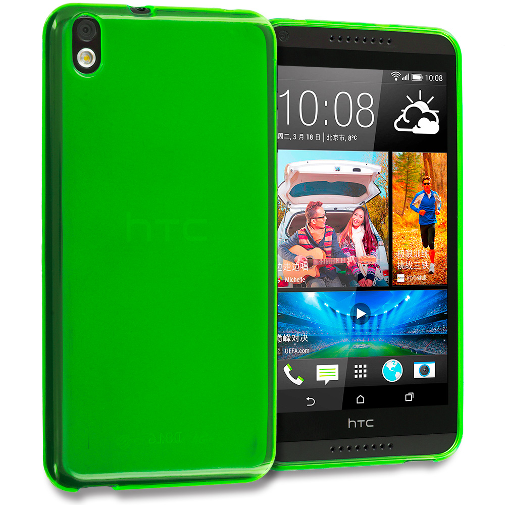 HTC Desire 816 Neon Green TPU Rubber Skin Case Cover