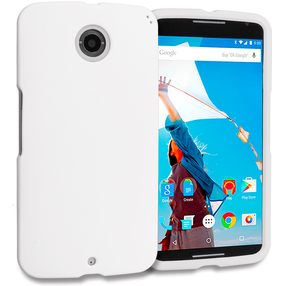 Motorola Google Nexus 6 White Hard Rubberized Case Cover