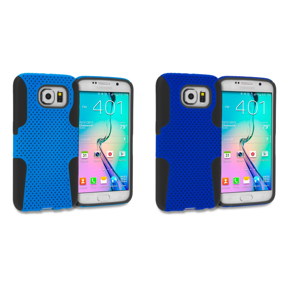 Samsung Galaxy S6 Combo Pack : Black / Baby Blue Hybrid Mesh Hard/Soft Case Cover