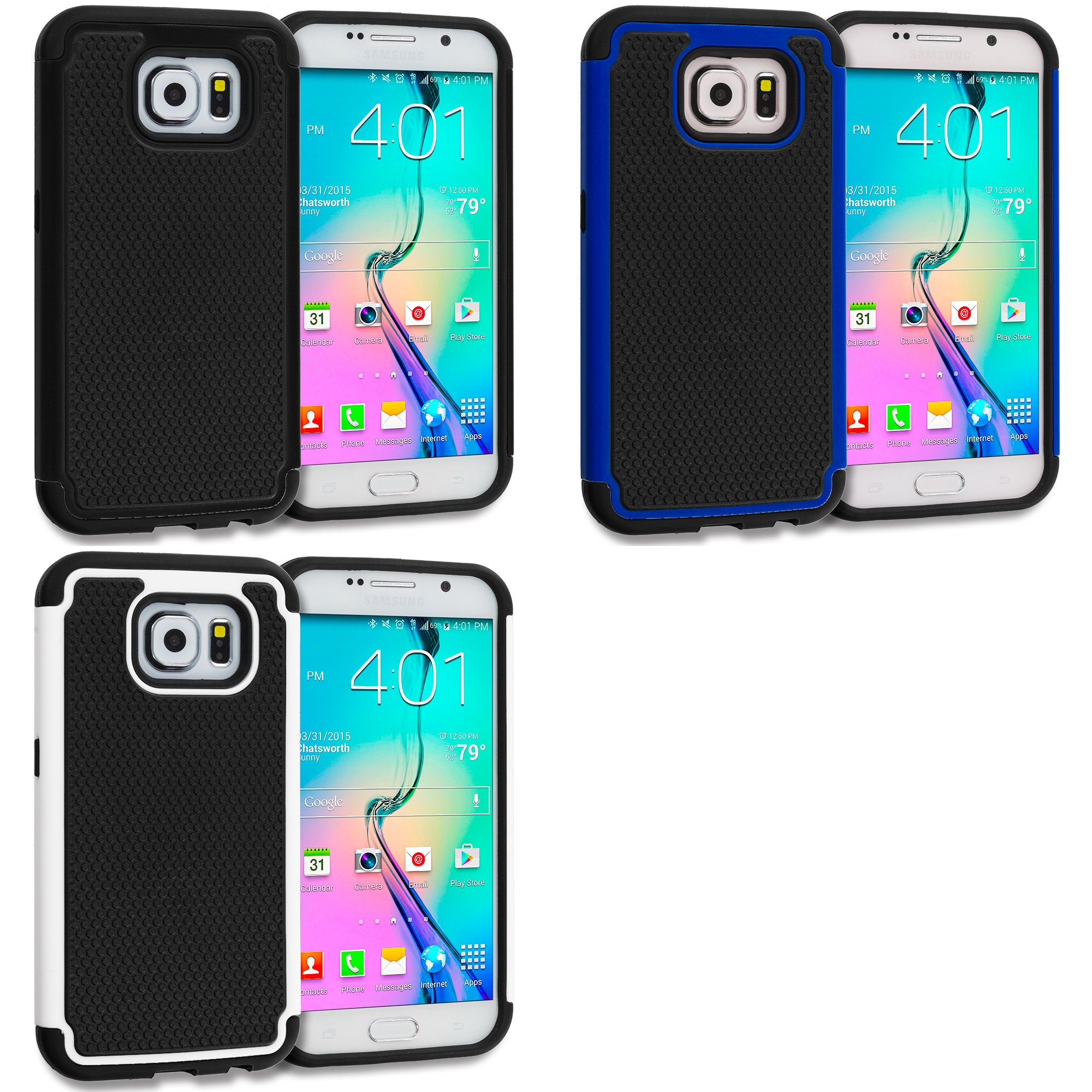 Samsung Galaxy S6 Combo Pack : Black / Black Hybrid Rugged Grip Shockproof Case Cover