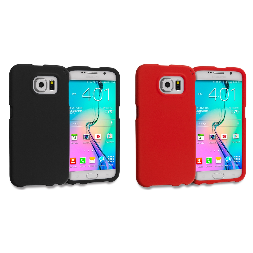 Samsung Galaxy S6 2 in 1 Combo Bundle Pack - Hard Rubberized Case Cover