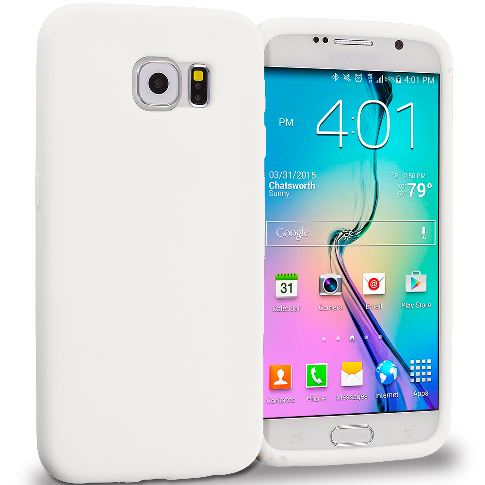 Samsung Galaxy S6 White Silicone Soft Skin Rubber Case Cover