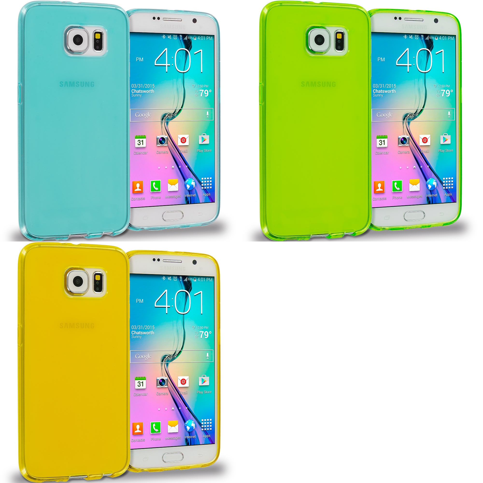 Samsung Galaxy S6 Combo Pack : Mint Green Plain TPU Rubber Skin Case Cover
