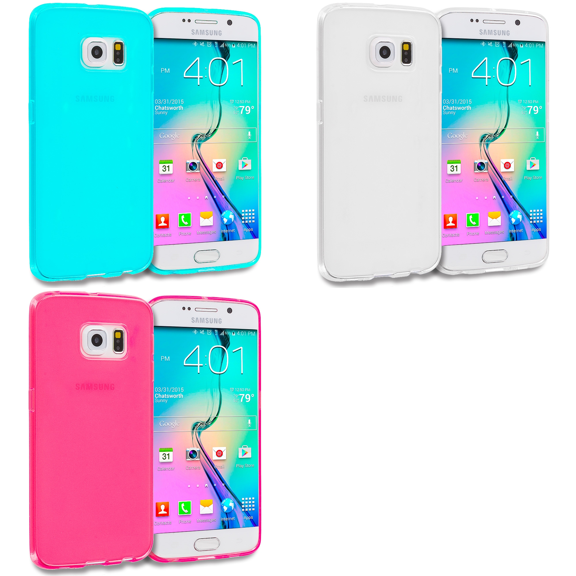 Samsung Galaxy S6 Edge 3 in 1 Combo Bundle Pack - Plain TPU Rubber Skin Case Cover