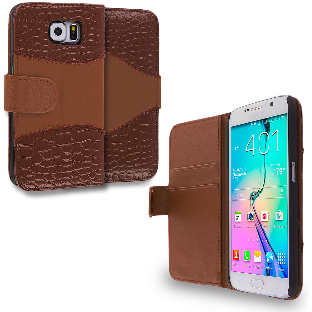 Samsung Galaxy S6 2 in 1 Combo Bundle Pack - Crocodile Leather Wallet Pouch Case Cover with Slots : Color Brown Crocodile