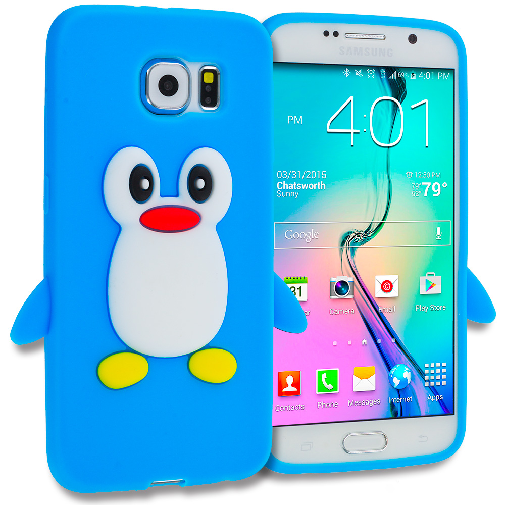 Samsung Galaxy S6 Baby Blue Penguin Silicone Design Soft Skin Case Cover