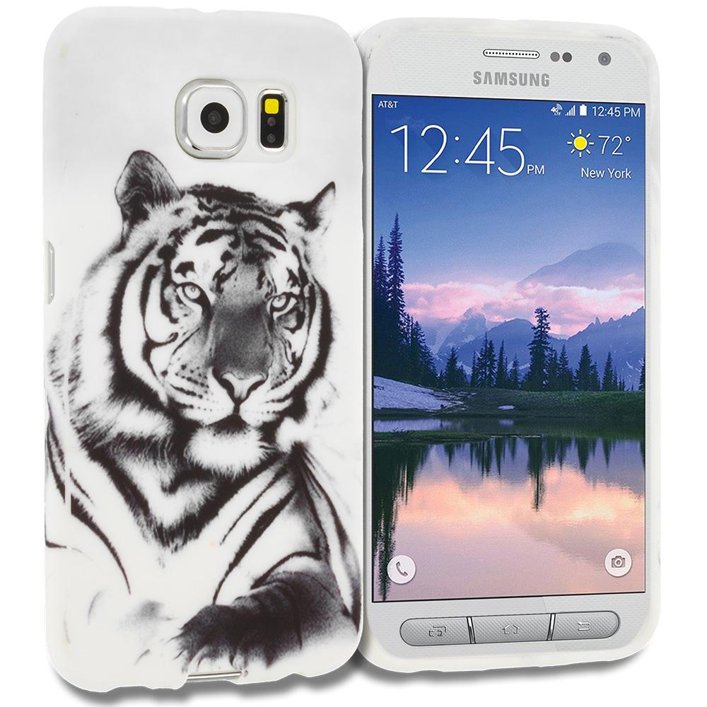 Samsung Galaxy S6 Active White Tiger TPU Design Soft Rubber Case Cover