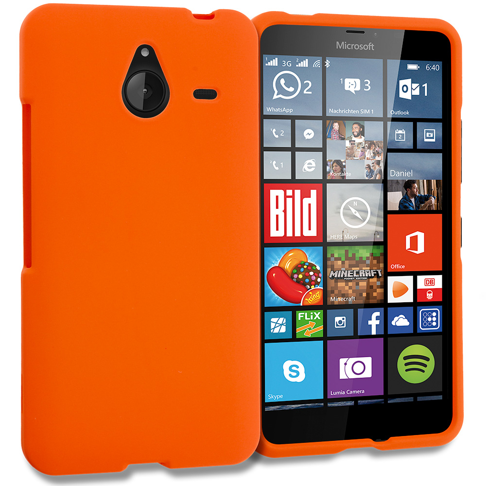 Microsoft Lumia 640 XL Orange Hard Rubberized Case Cover