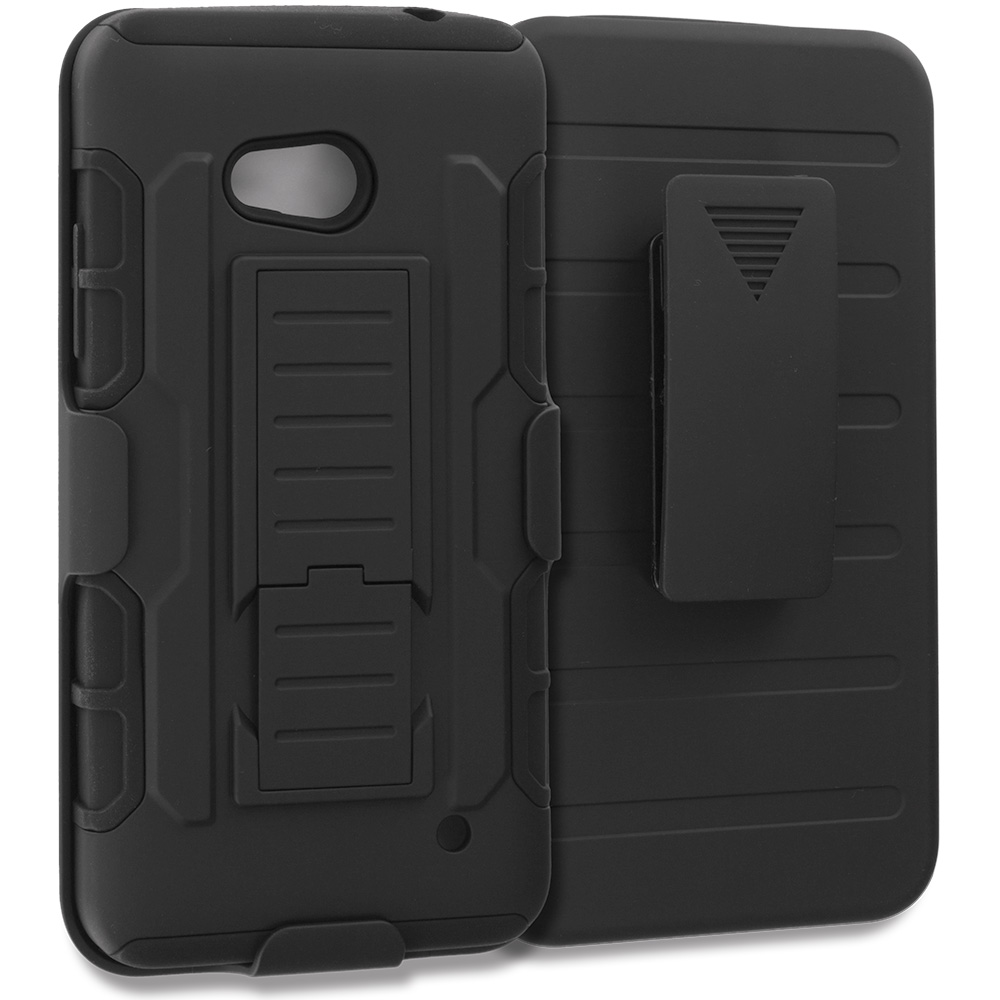 Microsoft Lumia 640 Black Hybrid Rugged Robot Armor Heavy Duty Case Cover with Belt Clip Holster