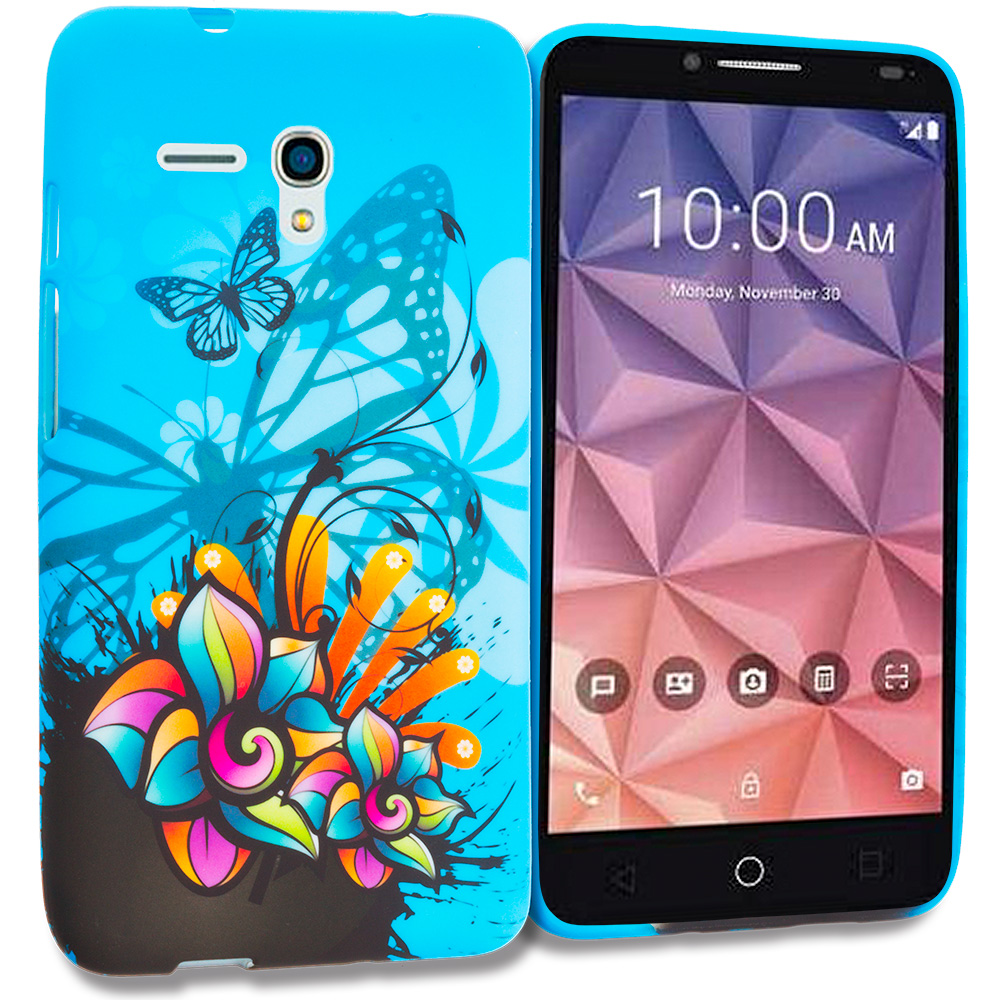 Alcatel OneTouch Fierce XL Blue Butterfly Flower TPU Design Soft Rubber Case Cover