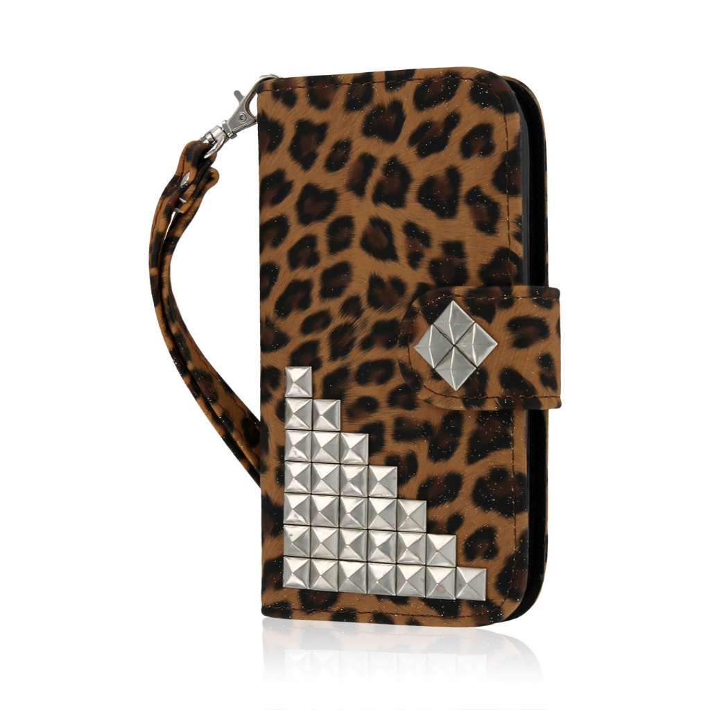 Kyocera Hydro Icon - Studded Leopard MPERO FLEX FLIP Wallet Case Cover