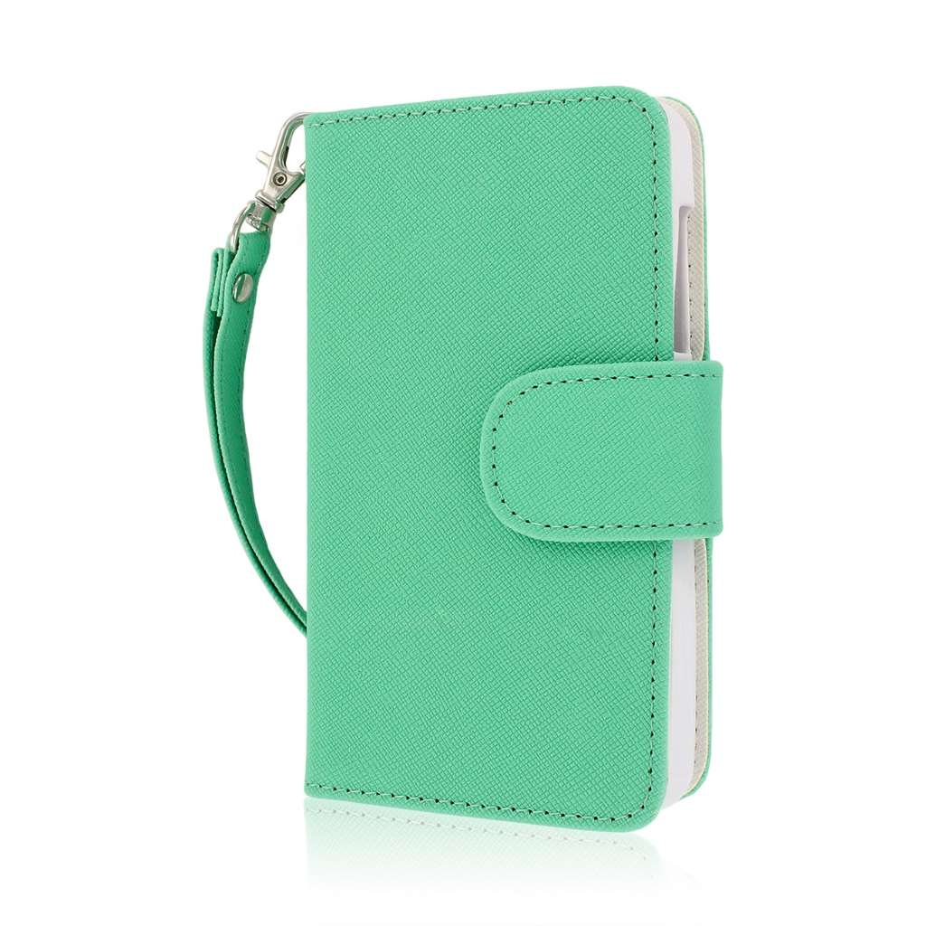 ZTE Engage - Mint / White MPERO FLEX FLIP Wallet Case Cover