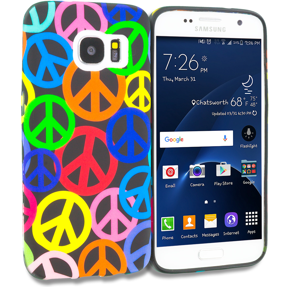 Samsung Galaxy S7 Edge Peace Sign TPU Design Soft Rubber Case Cover