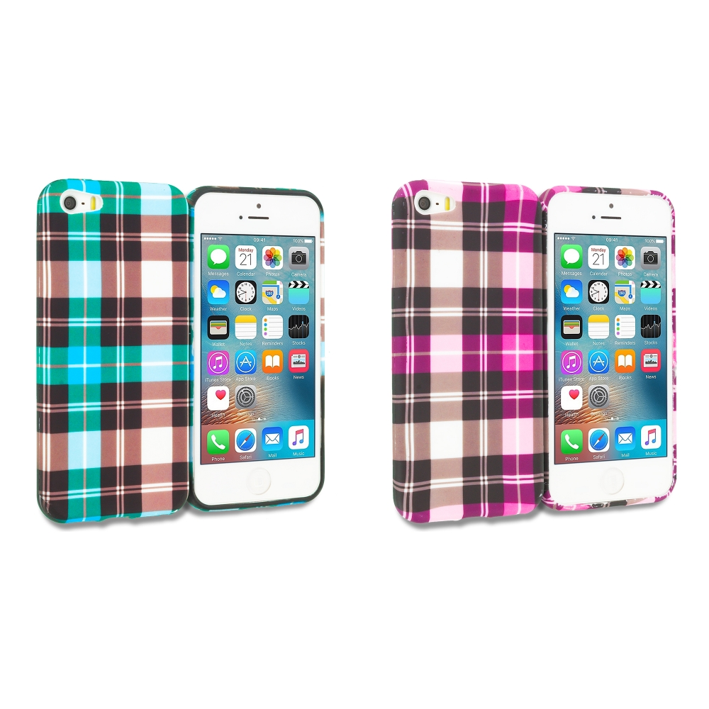 Apple iPhone 5/5S/SE Combo Pack : Blue Checkered TPU Design Soft Rubber Case Cover