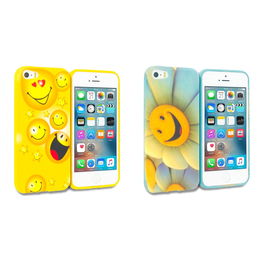 Apple iPhone 5/5S/SE Combo Pack : Smiley Face TPU Design Soft Rubber Case Cover