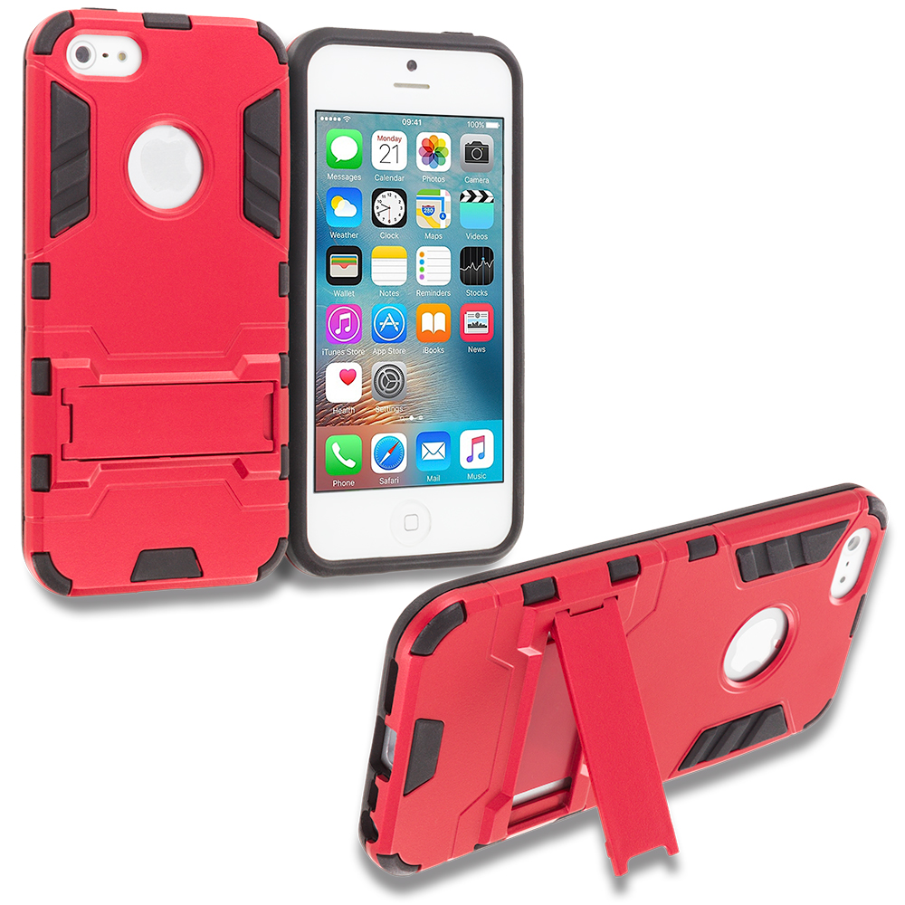 Apple iPhone 5/5S/SE Combo Pack : Gold Hybrid Transformer Armor Slim Shockproof Case Cover Kickstand : Color Red