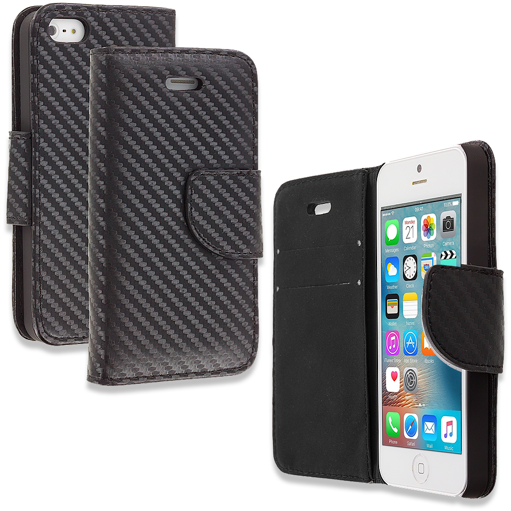 Apple iPhone 5/5S/SE Carbon Fiber Design Wallet Flip Pouch Case Cover with Credit Card ID Slots