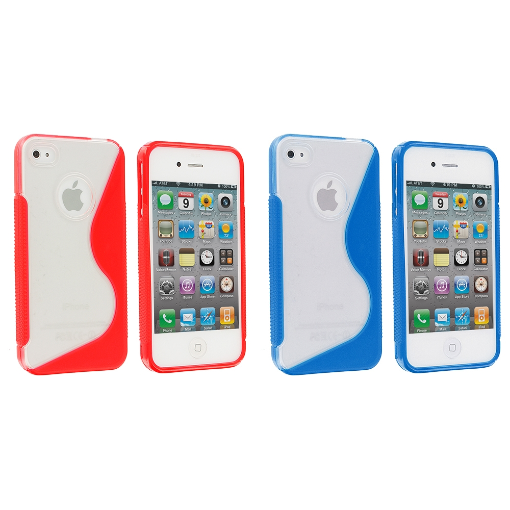 Apple iPhone 4 / 4S 2 in 1 Combo Bundle Pack - Clear / Red S-Line TPU Rubber Skin Case Cover