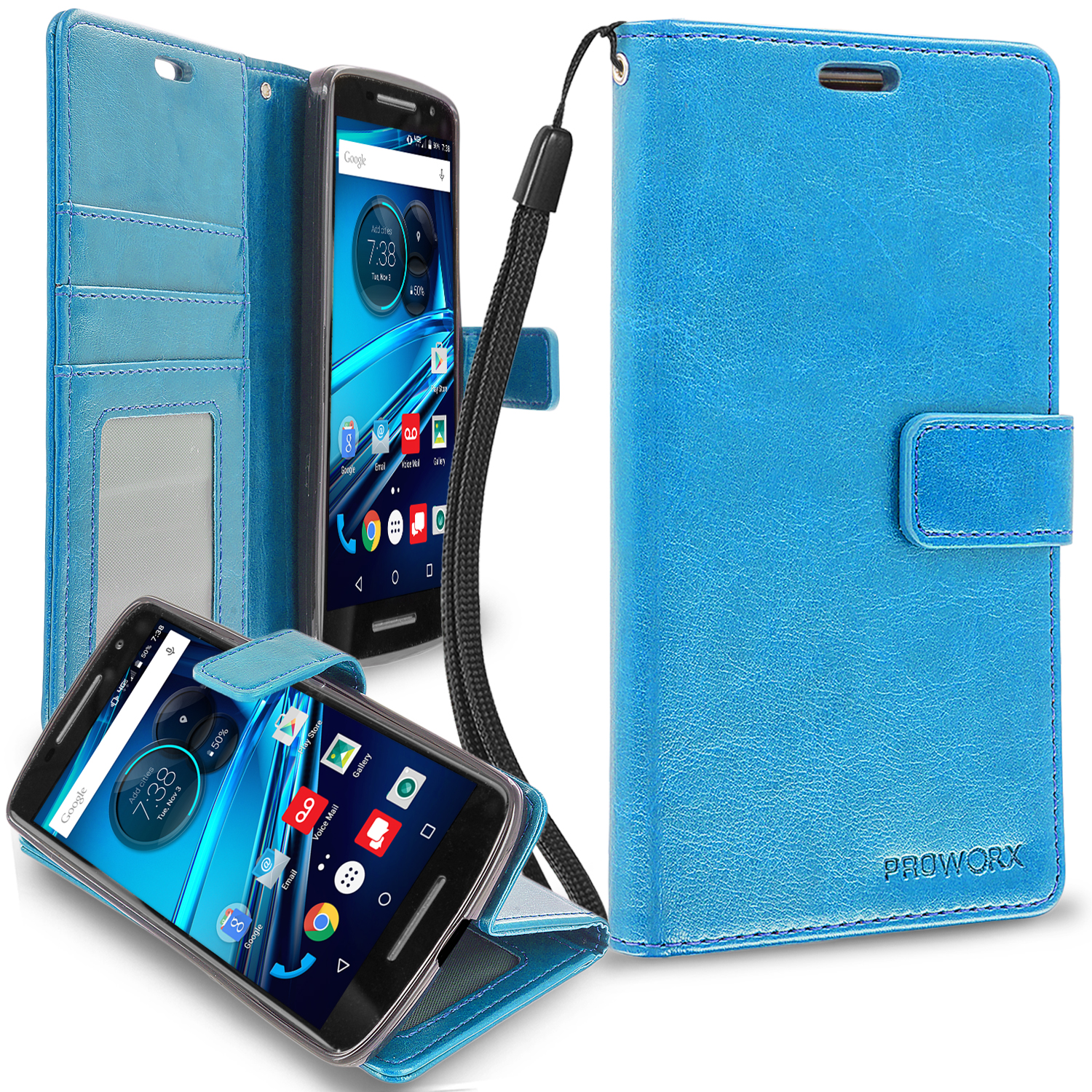 Motorola Droid Maxx 2 XT1565 Baby Blue ProWorx Wallet Case Luxury PU Leather Case Cover With Card Slots & Stand
