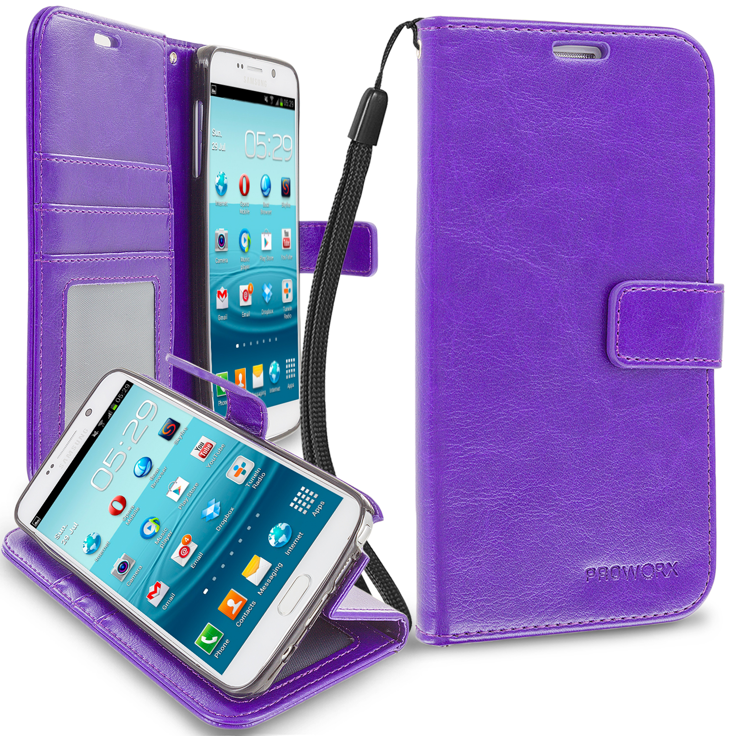 Samsung Galaxy Note 5 Purple ProWorx Wallet Case Luxury PU Leather Case Cover With Card Slots & Stand