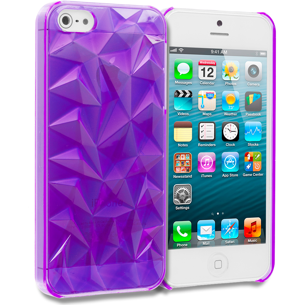 Apple iPhone 5/5S/SE 5 in 1 Combo Bundle Pack - Diamond Crystal Hard Back Cover Case : Color Purple Diamond