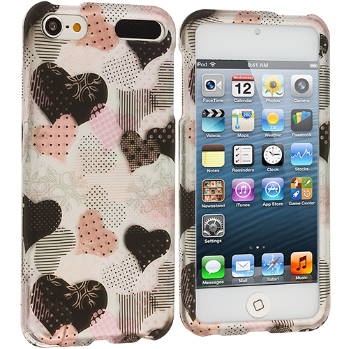 Apple iPod Touch 5th 6th Generation 2 in 1 Combo Bundle Pack - Hearts Love Hard Rubberized Design Case Cover : Color Love desert on Sliver