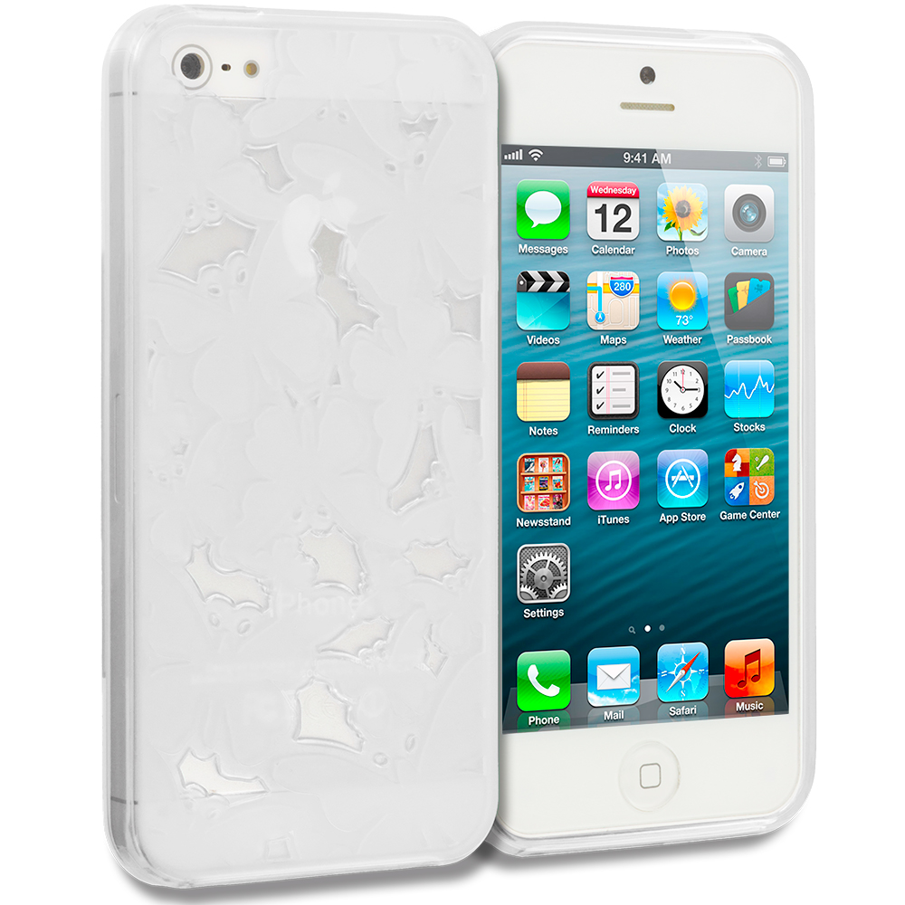 Apple iPhone 5/5S/SE Clear Butterfly Cutout TPU Rubber Skin Case Cover