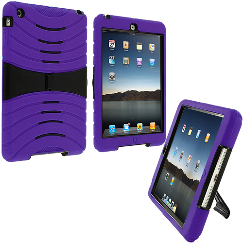 Apple iPad Mini Purple Rugged Hybrid Heavy Duty Hard/Soft Case Cover with Stand