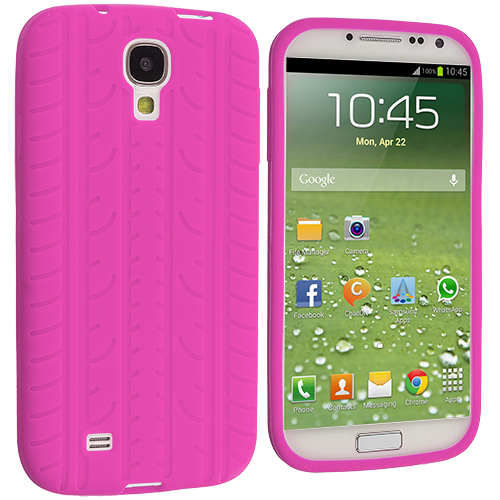 Samsung Galaxy S4 2 in 1 Combo Bundle Pack - Hot Pink White Tire Tread Silicone Soft Skin Case Cover : Color Hot Pink Tire Tread