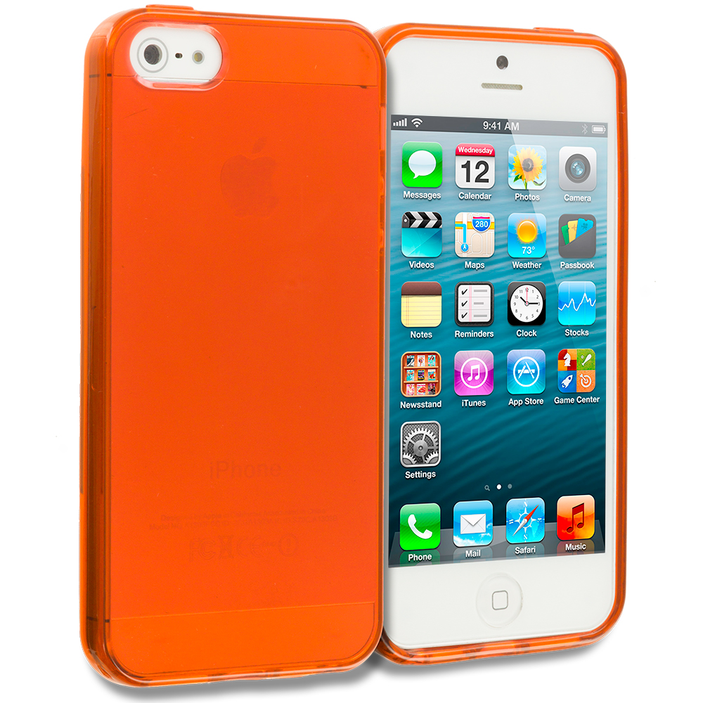 Apple iPhone 5/5S/SE Orange Plain TPU Rubber Skin Case Cover