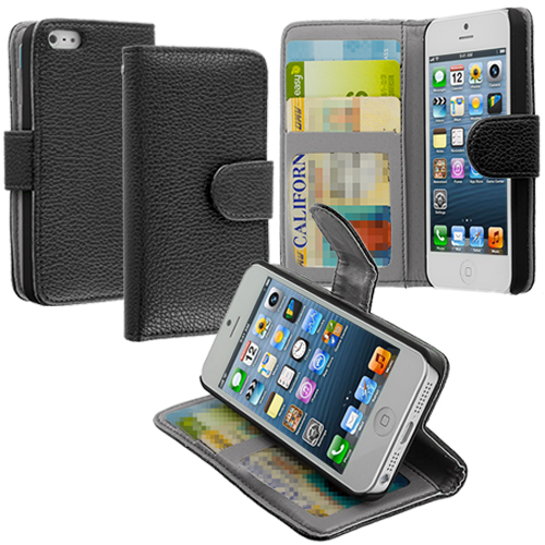 Apple iPhone 5/5S/SE Black Texture Leather Wallet Pouch Case Cover with Slots
